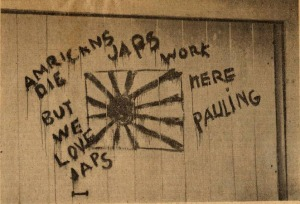 """Jap Flag Painted on Garage Door."" March 7, 1945."