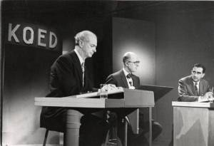 Linus Pauling debating Edward Teller on the topic of nuclear fallout. February 1958.