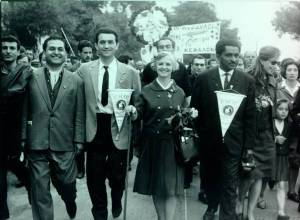 Ava Helen Pauling participating in the Marathon to Athens Peace March. Greece. May, 1964