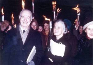 Linus and Ava Helen Pauling at a torchlight procession. Oslo, Norwary. December 1963.