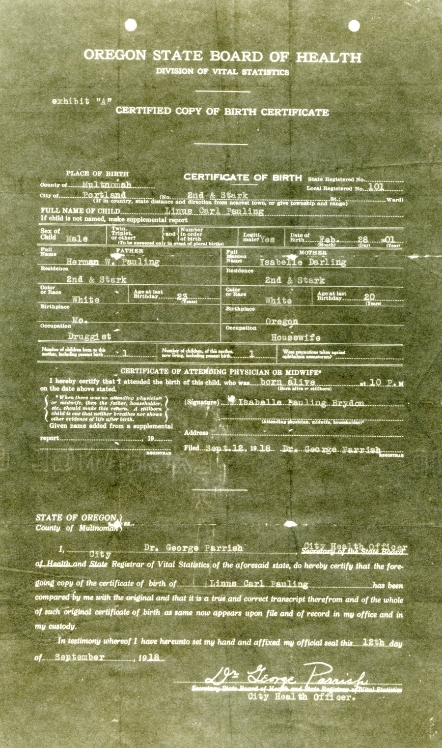 Featured Document Linus Paulings Birth Certificate Paulingblog