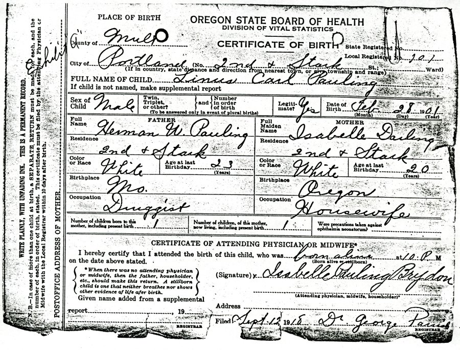 featured document: linus pauling's birth certificate | paulingblog