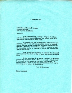Letter from Linus Pauling to the Collector of Internal Revenue.