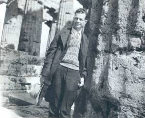 Linus Pauling at the Temple of Neptune, Paestum, Italy, 1926.
