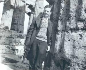 Linus Pauling at the Temple of Neptune, Paestum, Italy, 1926.