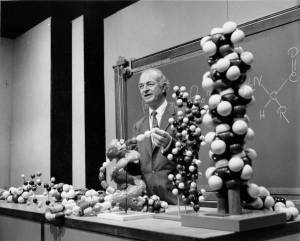 Linus Pauling in lecture, 1960s.