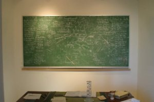 The Pauling chalkboard, housed on permanent display in the OSU Libraries Special Collections.
