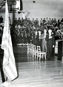 Linus Pauling reciting the Pledge of Allegiance, Washington High School, Portland, Oregon, 1966.