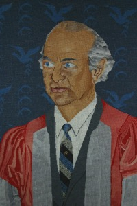 Needlepoint Portrait of Linus Pauling, by Jean Salvinien