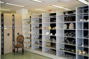 Part of Linus Pauling's collection of molecular models, stored in the OSU Libraries Special Collections closed-stack area.