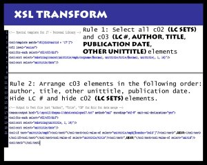 A series of rules written in XSL was used to re-sort the Pauling Personal Library arrangement.