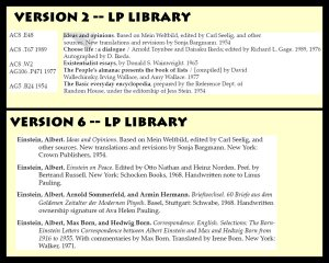 From working version 2 to working version 6 of the publication, significant arrangement changes were made to the Pauling Personal Library