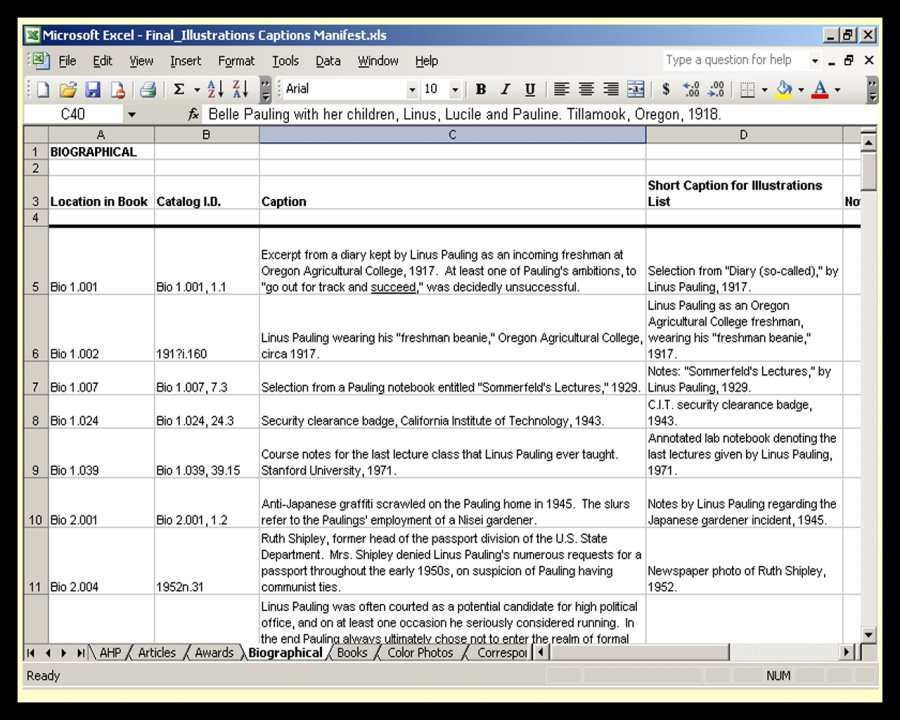 Self publishing paulingblog an example of the excel spreadsheets used to establish intellectual control over the 1200 illustrations accmission Image collections