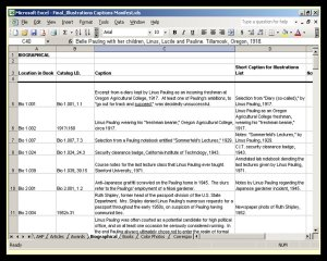 An example of the Excel spreadsheets used to establish intellectual control over the 1,200+ illustrations used in The Pauling Catalogue.