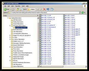 A peek at the file directory structure for a portion of the images scanned and used in The Pauling Catalogue