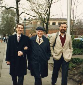 Cliff Mead, Head of the OSU Libraries Special Collections, Dr. Linus Pauling and Pauling biographer Tom Hager.  OSU campus, 1991.