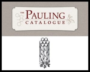 The Pauling Catalogue badge and the Pauling Papers logo -- both are used as design elements throughout The Pauling Catalogue.
