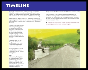 An excerpt from the Paradowski Timeline, which appears in Volume 1 of The Pauling Catalogue.