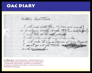 A sample of Pauling's OAC diary.  Though his track and field pursuits did not yield much fruit, Pauling would indeed make the acquaintance of Troy Bogart -- a fellow member of Delta Upsilon fraternity.