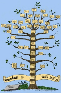 The Pauling family tree.  Certain annotations courtesy of Linda Pauling Kamb.