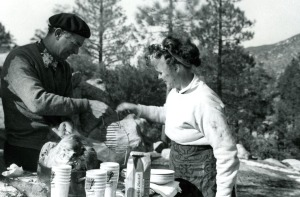 Linus and Ava Helen Pauling.  Angeles National Forest, Thanksgiving Day, 1952.