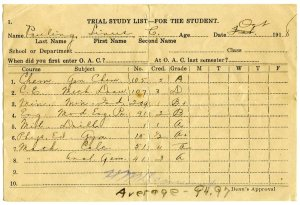 Pauling's OAC report card, October 1918.  The usual good grades in military drill, the sciences and math; a highly-unusual A+ in P.E.; and more-typical struggles in Mechanical Drawing.