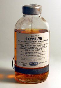 An original container of 5% Oxypolygelatin in normal saline. Developed by Linus Pauling as part of his scientific war work research program, mid-1940s.