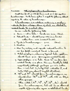 """Outline of Experiments on Hemochromagen,"" pg. 1. June 25, 1935."