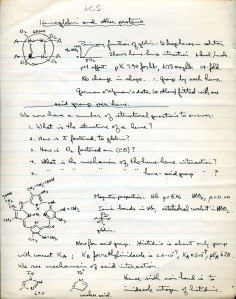 "Notes on hemoglobin, 1935.  Note Pauling's caricature of hemoglobin and oxygen sigmoid curve sketch to the upper left, as well as his notes on ""magnetic properties"" and a possible 3d structure further down the page."