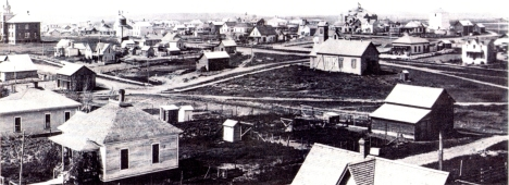 Condon, OR in 1906 with view of  Condon High Schol, Condon Grade School, and St. Thomas Academy.