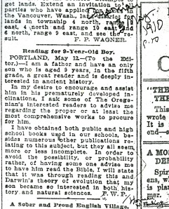 Herman W. Pauling's letter to the Oregonian, published May 13, 1910.  Annotations by Linus Pauling.