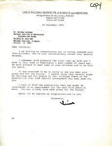 Letter from Linus Pauling to Carleton Gadjusek, December 28, 1993.