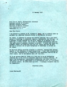 Letter of recommendation for Richard T. Jones, written by Linus Pauling, December 12, 1959.