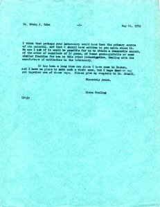 Linus Pauling to Edward Cohn, May 21, 1942, page 2.
