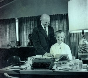 Linus and Ava Helen Pauling working on the United Nations Bomb Test Petition, 1957.