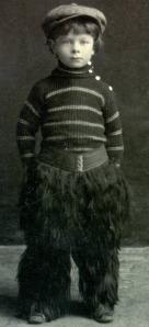 Linus Pauling, posing in his buffalo-skin chaps, 1906.