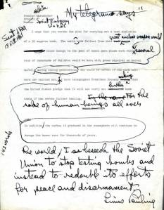 Draft of a letter from Linus Pauling to Nikita Khruschev, October 18, 1961.