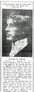 Obituary of Herman W. Pauling, 1910.
