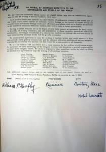 "William P. Murphy's signature added to ""An Appeal by American Scientists to the Governments and People of the World"""