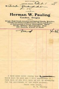 A monthly billing statement issued by the Herman Pauling drugstore.