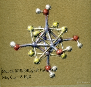 Pastel drawing of a compound of Molybdenum Dichloride. Drawing by Roger Hayward, 1964.