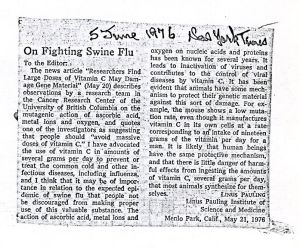 """On Fighting Swine Flu,"" Letter to the Editor of the New York Times, June 5, 1976."