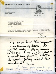 Letter from LP to Colgate 6-19-1968