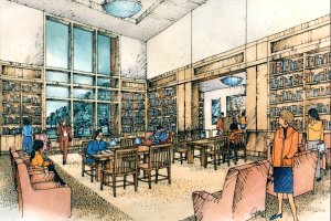 Initial artist's conception for the Special Collections reading room.