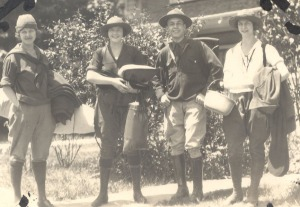 Pauline (second from left) and Lucile Pauling on a camping excursion with two friends, ca. 1920s.