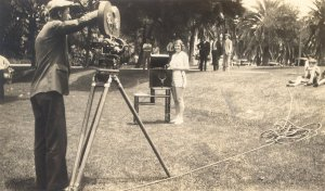 Pauline Pauling participating in a filmed athletics demonstration, Los Angeles, 1920s.
