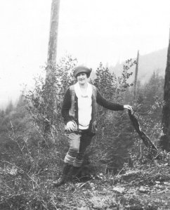 Pauline Pauling on a hiking excursion in the Oregon forest, 1921.