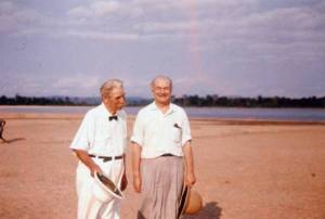 Albert Schweitzer and Linus Pauling at the Schweitzer compound, Lambéréne, Gabon. 1959.