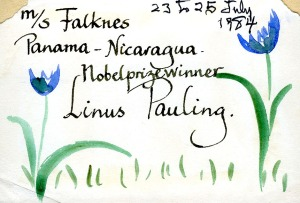 A keepsake from the Motorship Falknes, July 1984.
