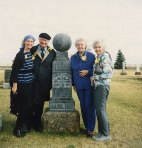 Linda, Linus, Pauline and Lucile Pauling at the grave of Linus Wilson Darling, Condon, Oregon, 1988.  In retirement, Lucile maintained a keen interest in her family geneology.